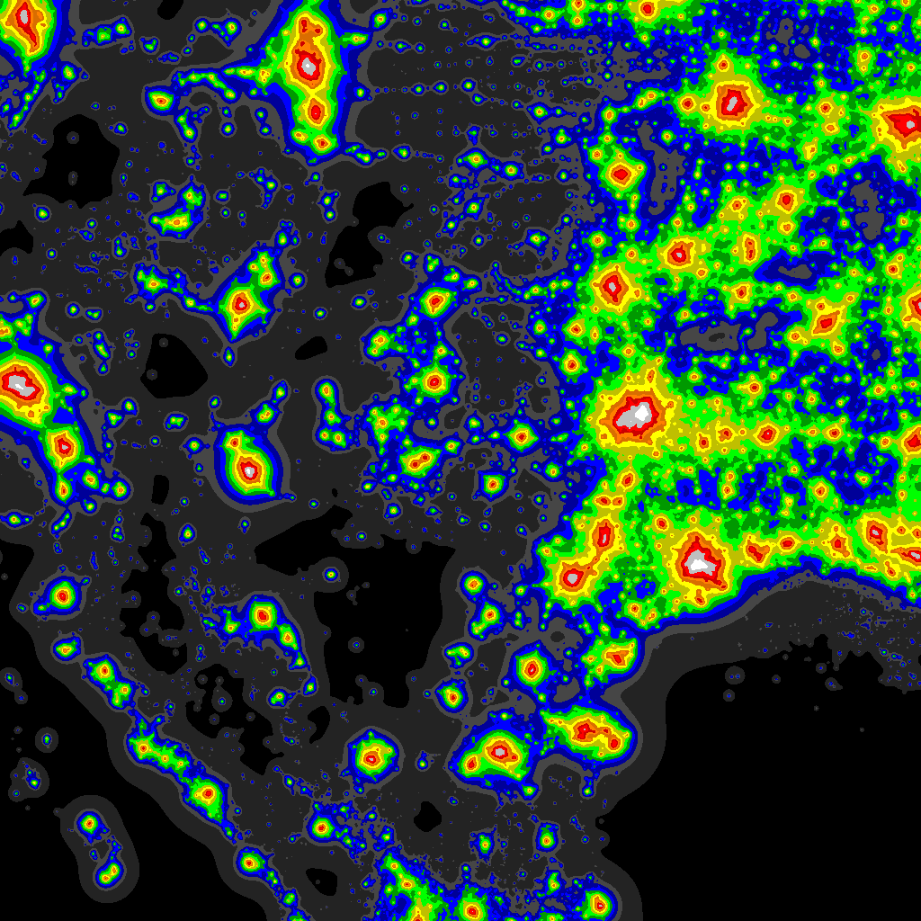 Light Polution Map Light Pollution Map   DarkSiteFinder.com
